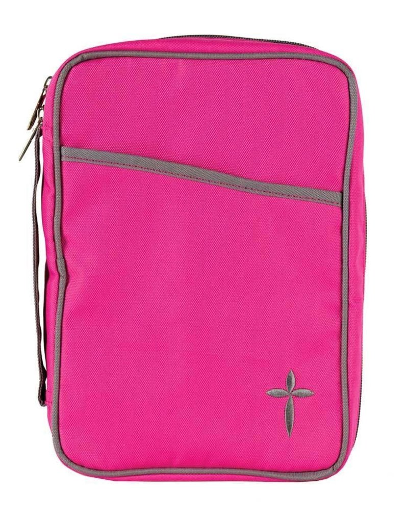 BIBLE CVR LG CROSS PINK/GREY CNVS