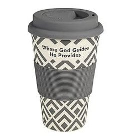 Bamboo Travel Cup-Where God Guides He Provides (13 Oz)