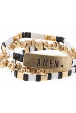 "Set of 3, Jet, White, Gold Tila with ""Amen"" Bar Bracelets"