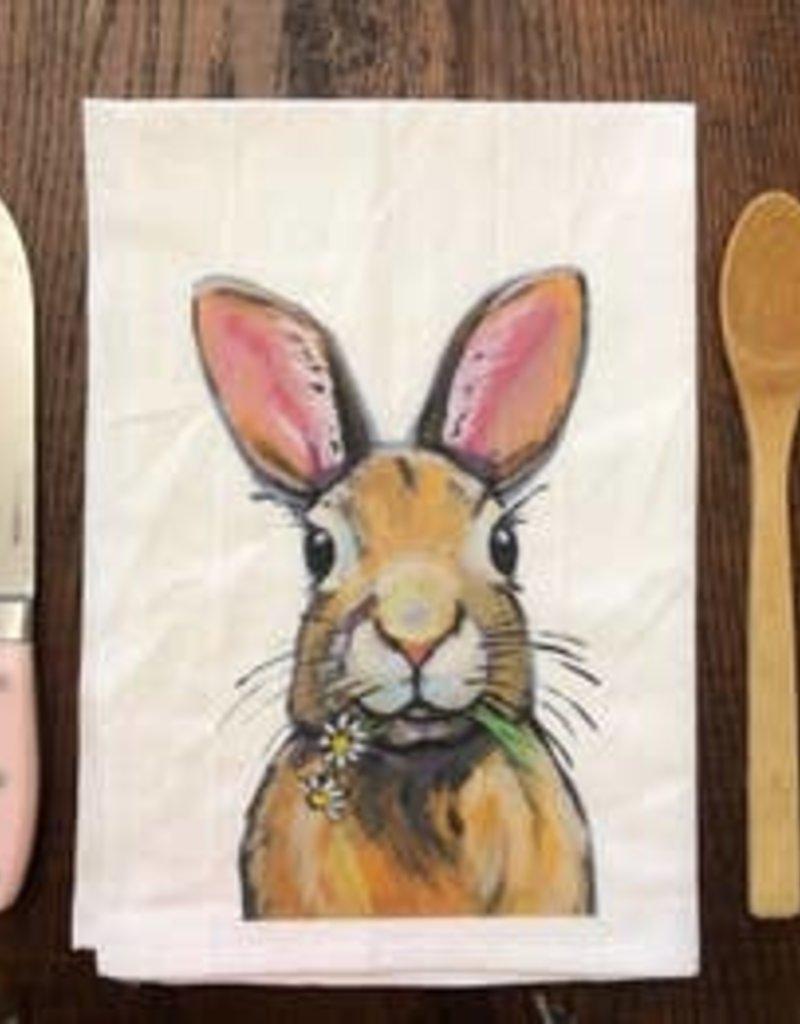 Rabbit Eating Flowers Flour Sack Towel