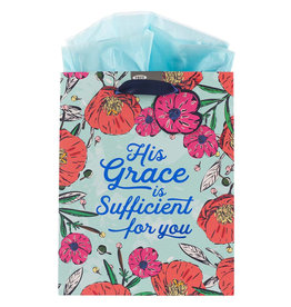 His Grace is Sufficient Medium Gift Bag w/ Tissue Paper