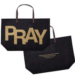Tote Bag-Pray 1 Thess 5:16-18-Black Jute