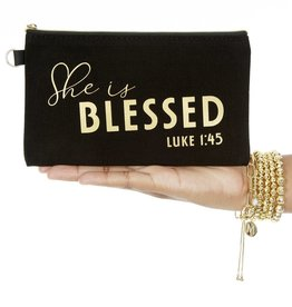 She is Blessed Mantra Quote Black Canvas Bag