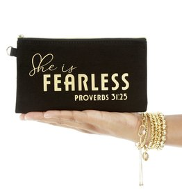 Black Makeup Bag - She is Fearless Proverbs 31:25