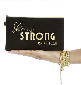 She is Strong Mantra Quote Black Canvas Bag