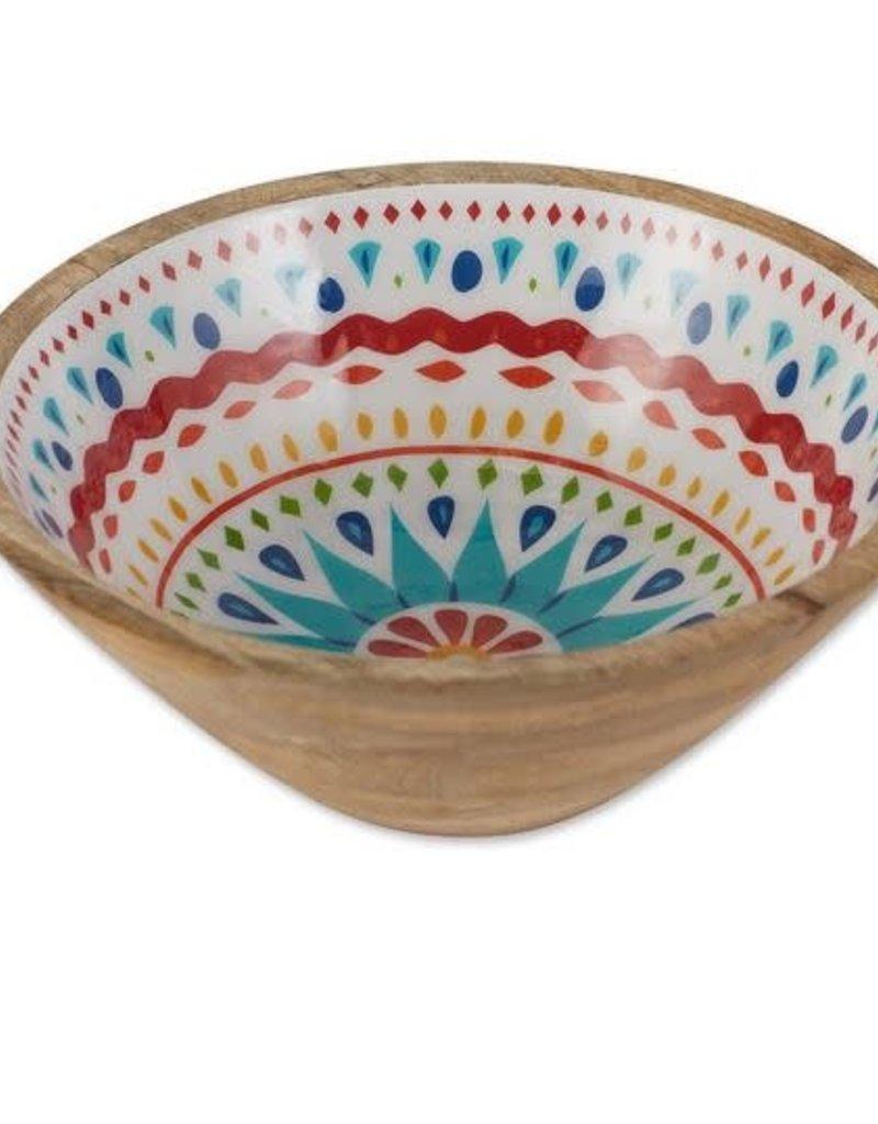 Medallion Enamel Wood Bowl