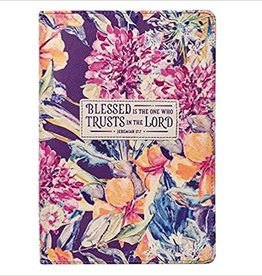 Blessed is the One Jeremiah 17:7 , Purple Floral Faux Leather Classic Journal