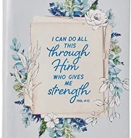 All Things Philippians 4:13   Floral Faux Leather Journal