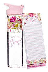 I Love You, Mom Water Bottle and Notepad Gift Set