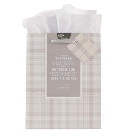 I Know the Plans Gray Plaid Medium Gift Bag