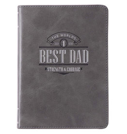 The World's Best Dad Handy-Sized Gray Faux Leather Journal