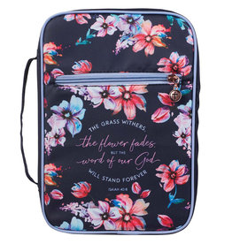 LARGE God's Word Stands Forever Navy Floral Nylon Fashion Bible Cover - Isaiah 40:8
