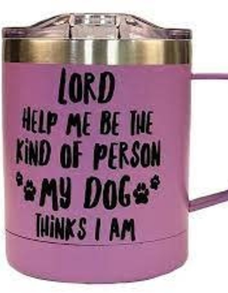 Lord Help Me Be the Kind of Person My Dog Thinks I Am Stainless Steel Mug, Purple
