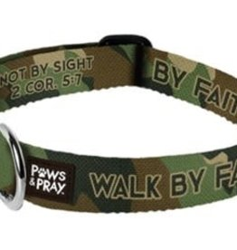 Walk By Faith Camo Pet Collar, Small/Medium