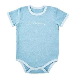 Little Blessing Snapshirt, Cream and Blue, 0-3 Months