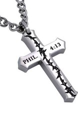 Men's Stainless Steel Philippians 4:13 Crown Of Thorns Necklace