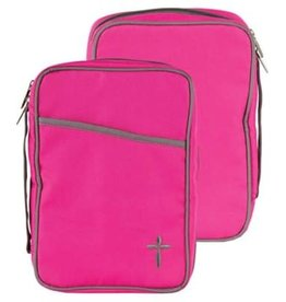 Canvas Bible Cover, Pink and Grey with Cross, Thinline