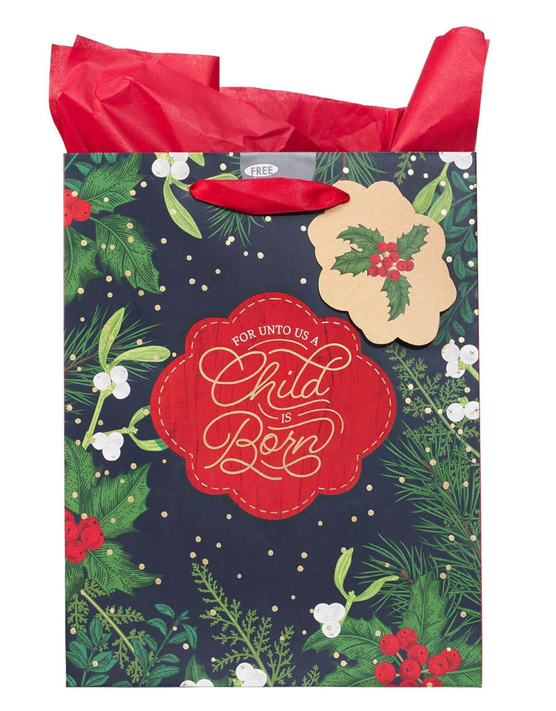 A Child is Born Medium Christmas Gift Bag with Tissue Paper - Isaiah 9:6