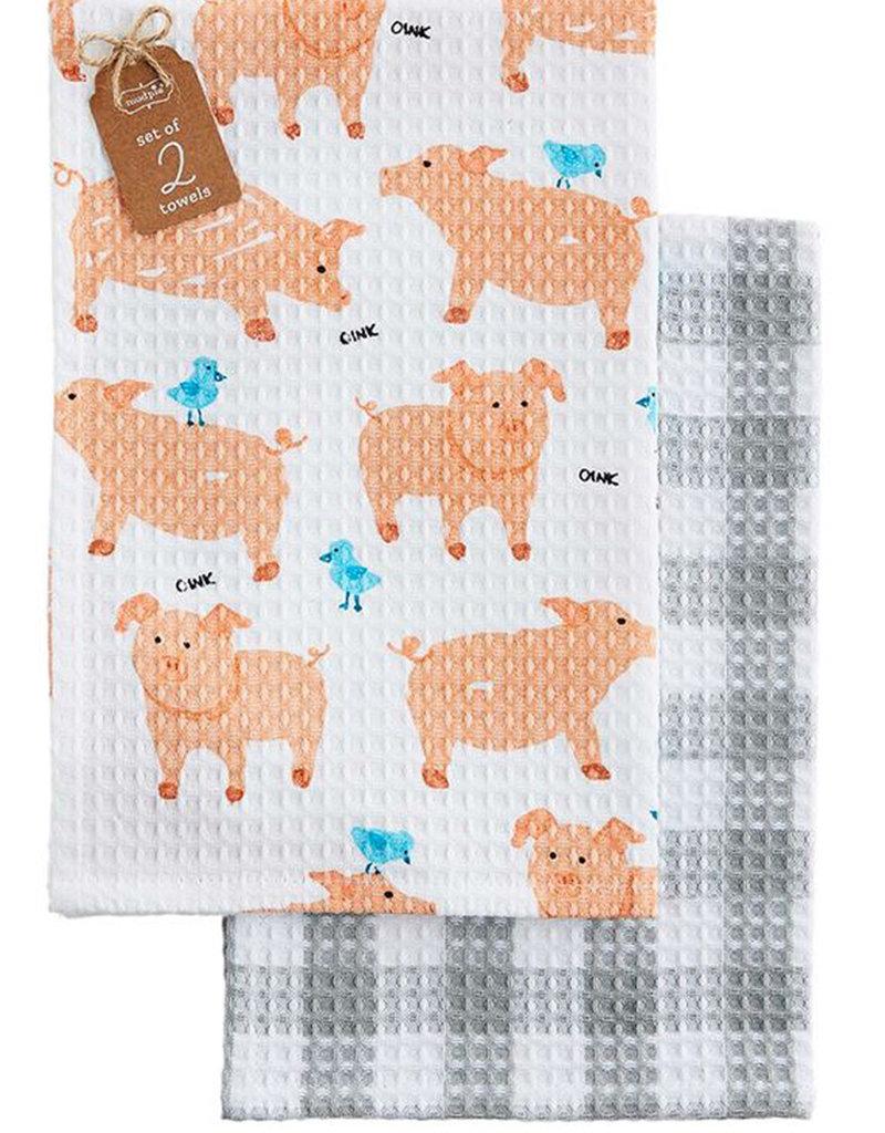 PIG WAFFLE WEAVE TOWEL SET