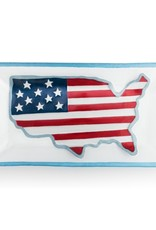 "AMERICAN FLAG RECTANGLE PLATTER - 15X8"""
