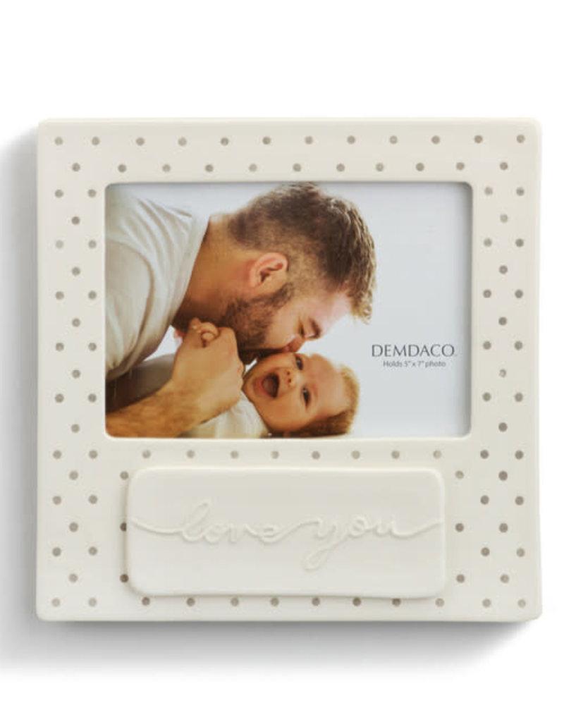 Love You Gray Frame Stoneware Polka Dots