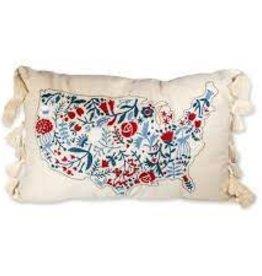 Pillow - Floral USA Map