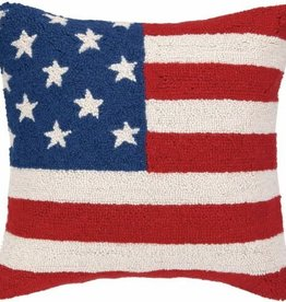 """AMERICAN FLAG RED WHT & BLUE Hook Pillow 18"""""""