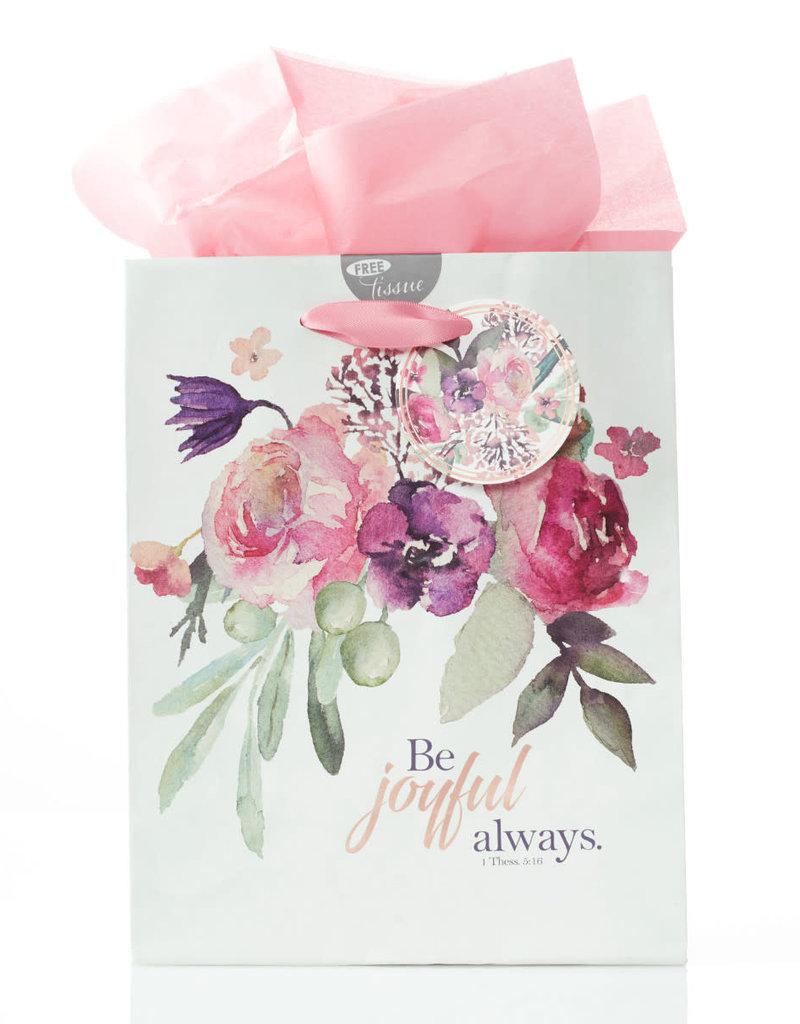 Gift Bag-Be Joyful Always w/Tag & Tissue-Medium