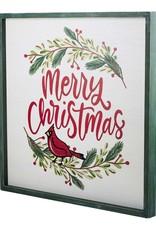 Merry Christmas Red Bird Wreath