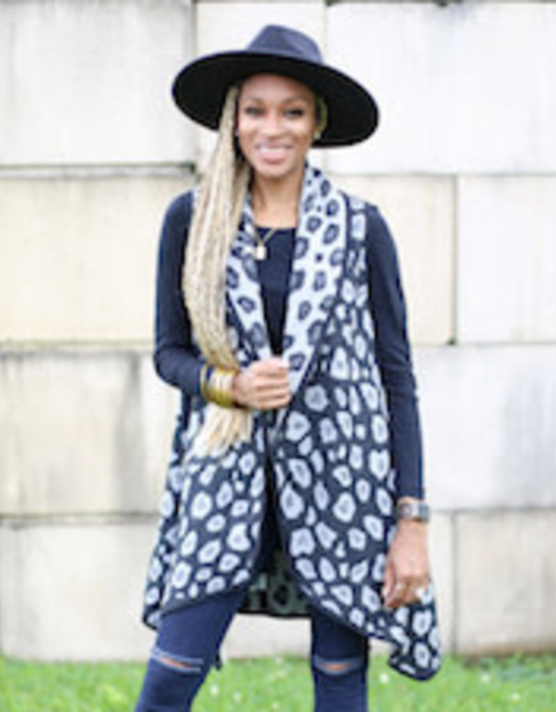 Leopard Vest Gray/Charcoal One Size