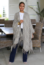 Charity Cape Wrap Light Gray/Charcoal One Size