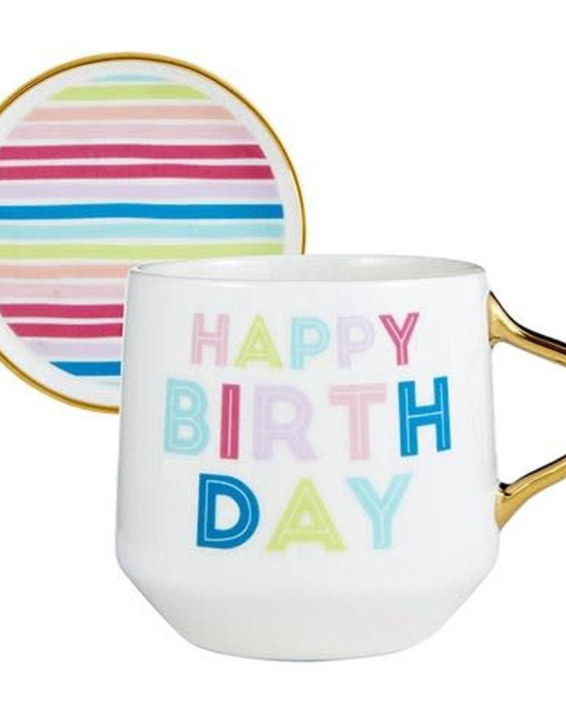 Happy Birthday Mug  w/ Lid Coaster