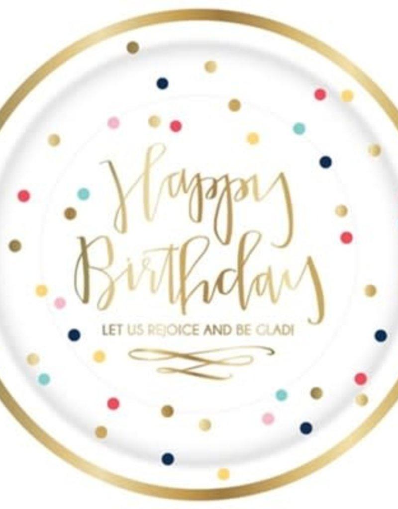 Happy Birthday Plate 8pk (dots)