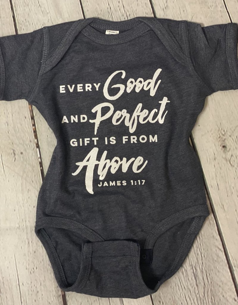 Every Good and Perfect Gift Onesie- Heather Navy