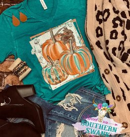 Teal Cotton w/ Pumpkins Vneck T- Shirt