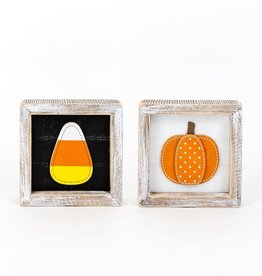 Reversible Wood Sitter ( pumpkin/candy corn)