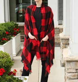 Red Buffalo Check Plaid Open Poncho with Pockets