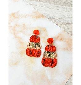 Pumpkin Beaded Statement Earrings