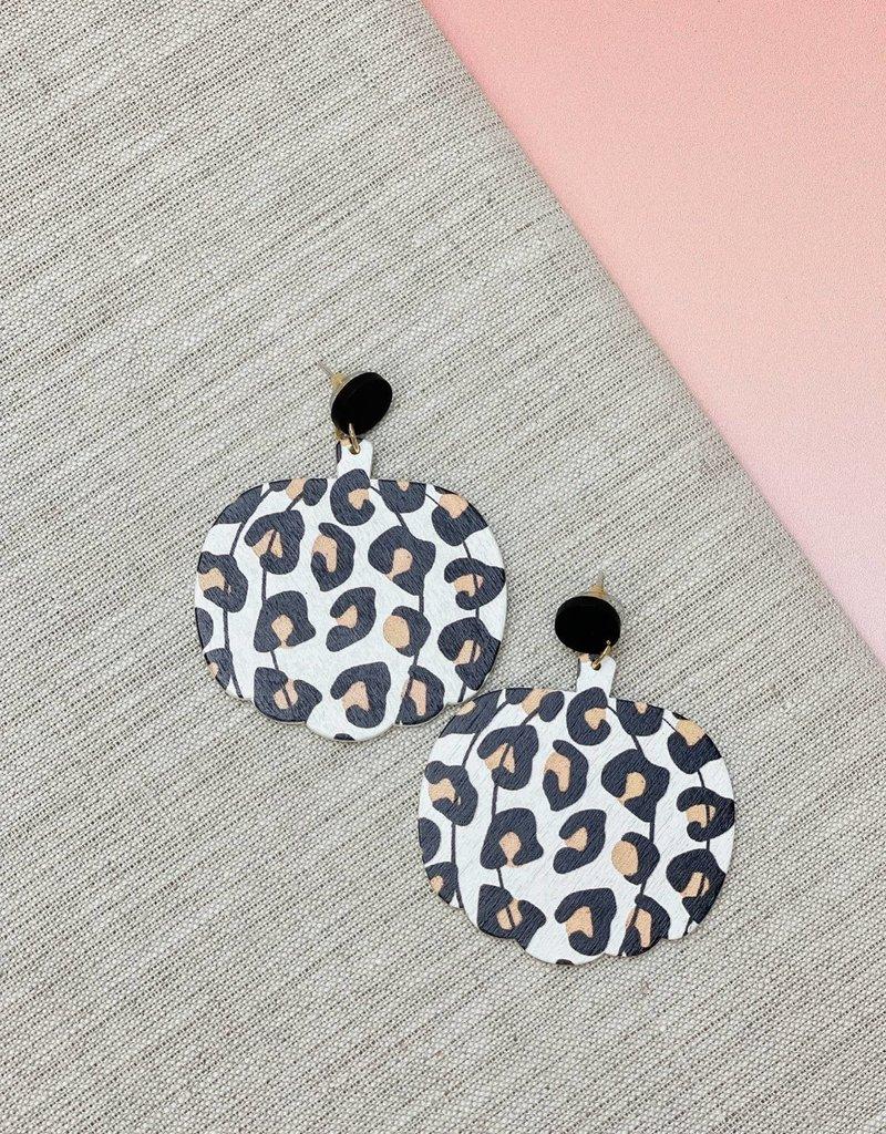 Leopard Print Pumpkin Wood Dangles Earrings