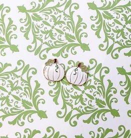 Harvest  White Pumpkin Enamel Stud Earrings