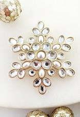 Gold Pearl & Crystal Snowflake Pin/Pendant