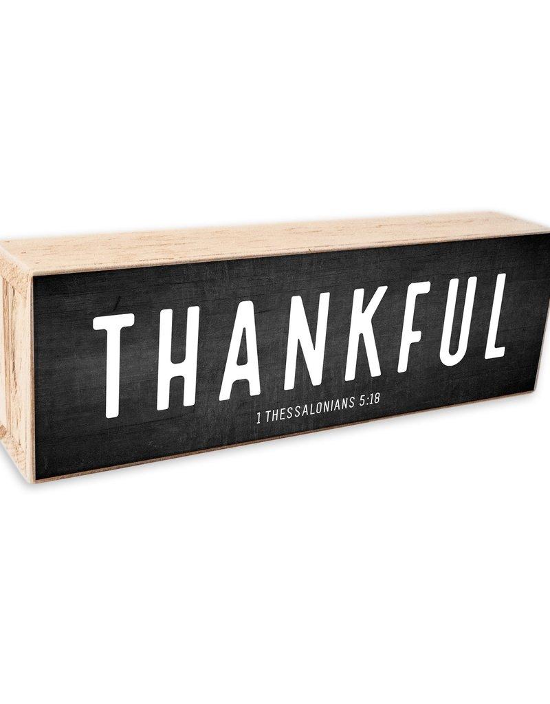 12x 4 Thankful  White Text on Black Background Shelf Sitter
