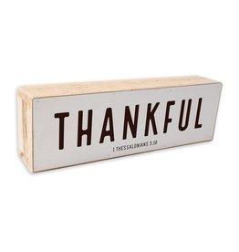12x 4 Thankful Black Text onWhite Background Shelf Sitter