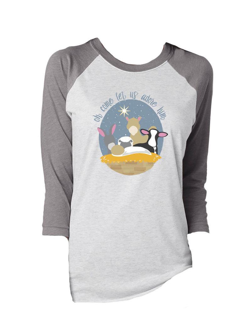 Adore Him Grey & White 3/4 Sleeve T- Shirt
