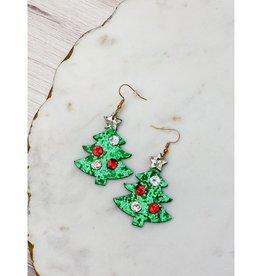 Christmas Tree Sparkle Dangle Earrings