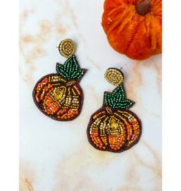 Fall Harvest Pumpkin Beaded Dangle Earrings