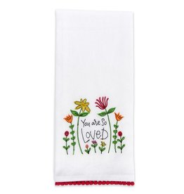 You Are So Loved Embroidered Tea Towel