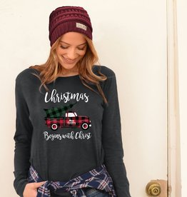 Womens Christmas Long Sleeve T-Shirt Christmas Begins With Christ