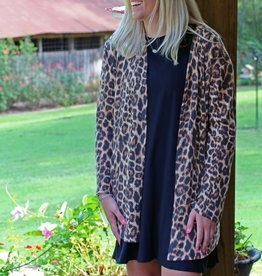 Waffle Long Sleeved Leopard Cardigan