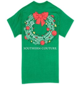 Southern Couture Classic Christmas Wreath Holiday T-Shirt